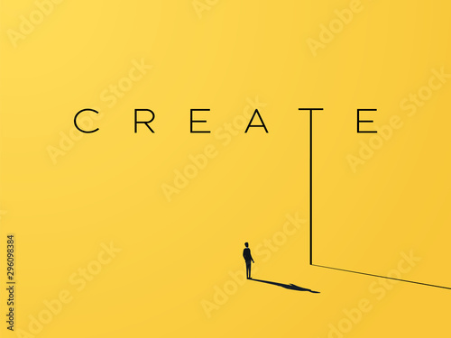 Obraz na płótnie Creativity vector concept with creative typography and design with businessman looking to grow, climb up
