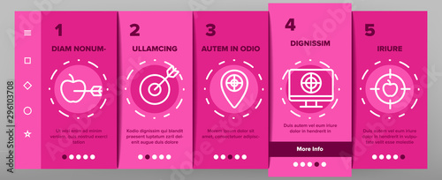 Photo  Target Aim Onboarding Mobile App Page Screen Vector Icons Set Thin Line