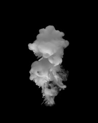 White paint in the water. The effect of smoke from white paint in on a black background.