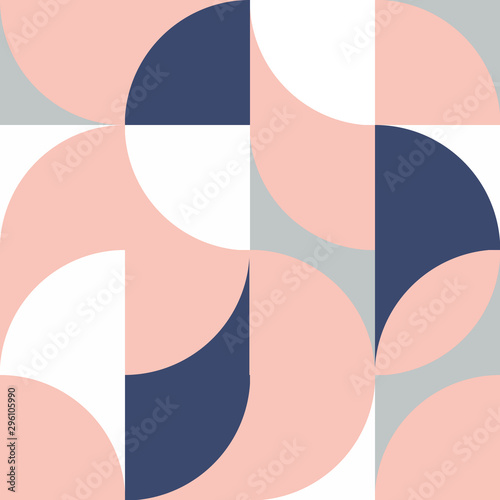 Tela Modern vector with abstract geometric pattern with a semicircle and a circle in retro Scandinavian style