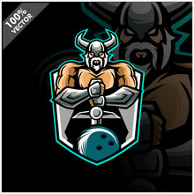 Vector Sport Logo, Viking Illustration And Bowling On Shield Background. Logo For Sport Club Or Team. Vector Illustration