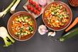 Leinwandbild Motiv mixed vegetable and broth- minestrone