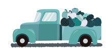 Retro Teal Truck With Fall Harvest Pumpkins On White Background