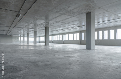 Fototapeta Empty room office space building with cement material structure obraz