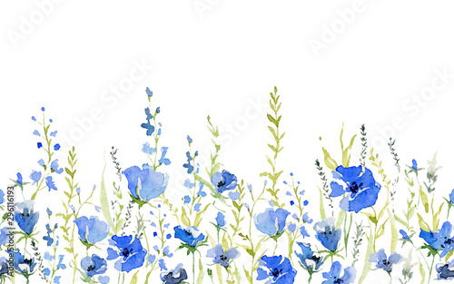 Fototapety niebieskie  seamless-border-with-rustic-gentle-blue-flowers-botanical-background-design-for-textile-wallpaper-print-isolated-on-white-background-watercolor-illustration