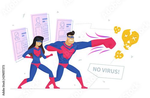 Cuadros en Lienzo Online privacy safety metaphor flat vector illustration