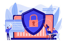 Security Analysts Protect Internet-connected Systems With Shield. Cyber Security, Data Protection, Cyberattacks Concept On White Background. Pinkish Coral Bluevector Isolated Illustration