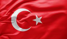 Waving National Flag Of Turkey