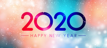 Colorful Magic Happy New Year 2020 Banner.