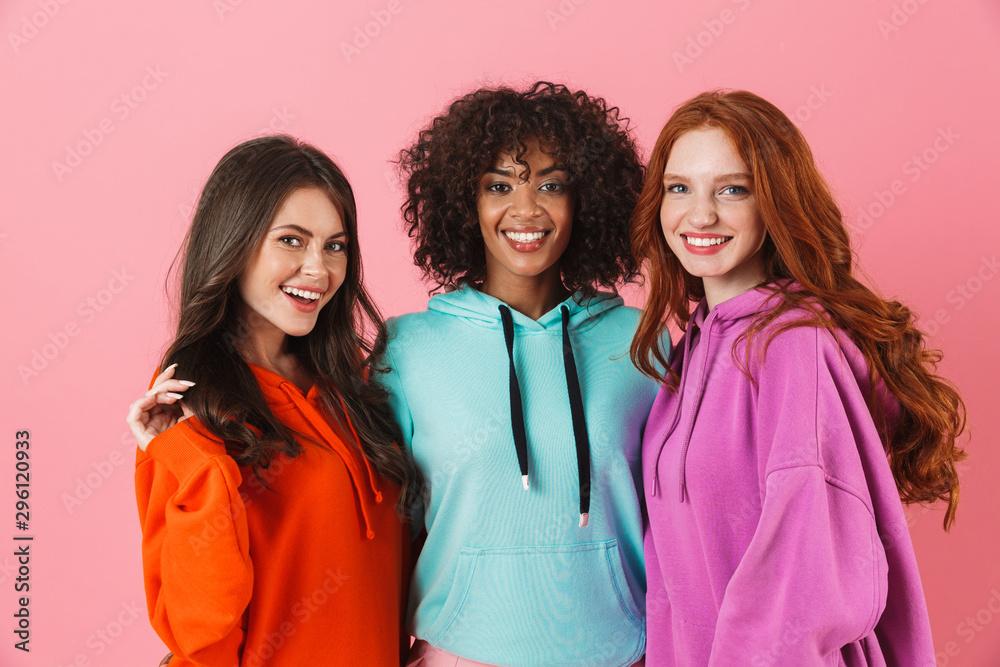 Fototapety, obrazy: Three cheerful multiethnic girls standing
