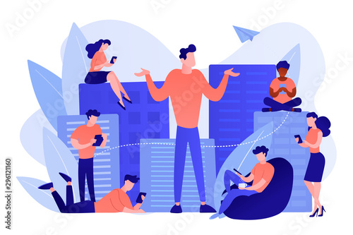 Fototapety, obrazy: People in the city overusing mobile devices and a man feeling alone. Smartphone addiction, digital disorder, mobile device addiction concept. Pinkish coral bluevector isolated illustration