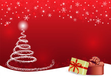Christmas And Happy New Year Red Vector Background With Gift