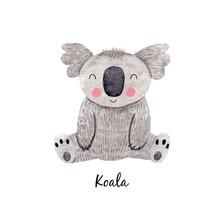 Cute Watercolor Australian Baby Koala Bear Illustration For Children Print