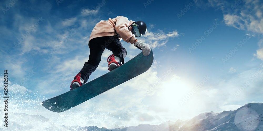 Fototapety, obrazy: Snowboarder in action. Extreme winter sports.
