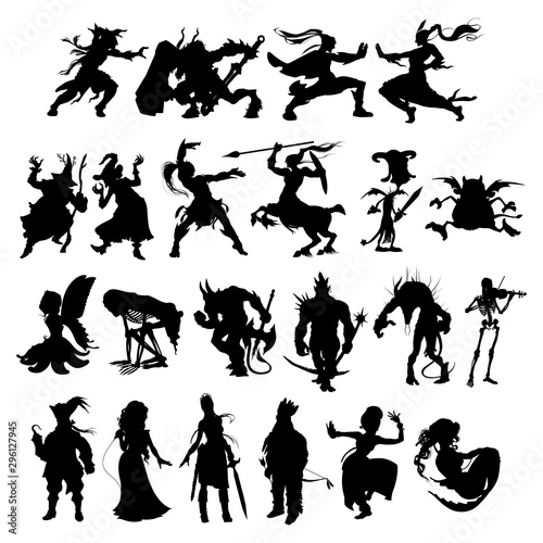 Silhouettes of cartoon fantasy characters