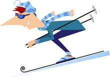 Cartoon Skier Man Illustration...