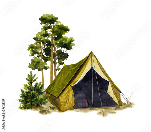 Tablou Canvas Picture of a camp in a forest hand drawn in watercolor isolated on a white background