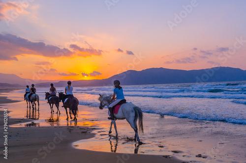 Fototapeta A group of girls on horseback riding on a sandy beach on the background of the sunset sky obraz