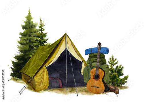 Obraz Picture of a tent with a backpack and a guitar hand drawn in watercolor isolated on a white background. Watercolor illustration - fototapety do salonu