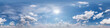 Leinwandbild Motiv Seamless cloudy blue sky hdri panorama 360 degrees angle view with zenith and beautiful clouds for use in 3d graphics as sky dome or edit drone shot