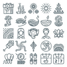 Diwali Icon Set. Line Art Icon...