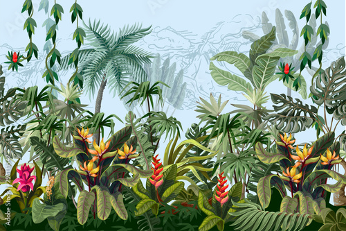 Obraz premium Granica z dżungli drzewami i kwiatami