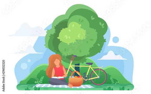Girl reading book under tree flat vector illustration Wallpaper Mural