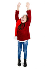 Cute Girl Wearing Santa Hat Tr...