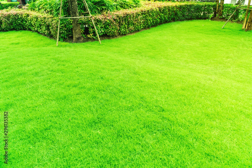 Foto auf Gartenposter Lime grun Landscape design, Peaceful Garden, Green garden and lawn., Green lawn, The front lawn for background, The beauty of the decorated garden.