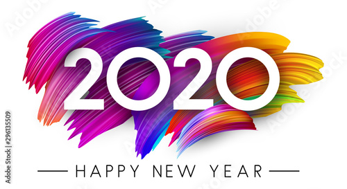 Fototapeta Happy New Year 2020 card with colorful brush stroke design. obraz