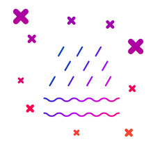 Color Rain And Waves Icon Isol...