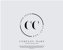 Initial Letter CC Beauty Handwriting Logo Vector