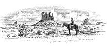 Cowboy In American Desert Landscape, Western Landscape Engraved Line Illustration, Wild West. Vector, Sky In Separate Layer.