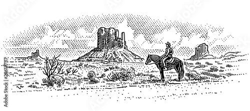Fototapeta Cowboy in american desert landscape, western landscape engraved line illustration, wild west. Vector, sky in separate layer.  obraz