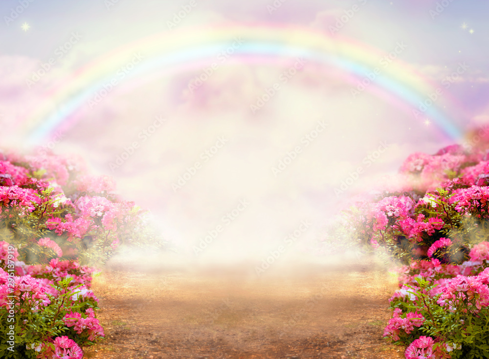 Fantasy panoramic photo background with pink rose garden, misty path leading to fabulous rainbow unicorn house. Idyllic tranquil morning scene and empty copy space. Road goes across hills to fairytale
