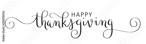 HAPPY THANKSGIVING vector brush calligraphy banner with flourishes