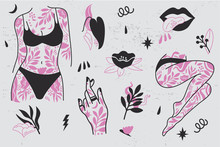 Girl Power Set Icons. Fashion Symbol With Female Tattooed Hands And Body, Legs. Woman Right.