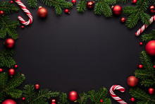 Christmas Oval Frame On Black
