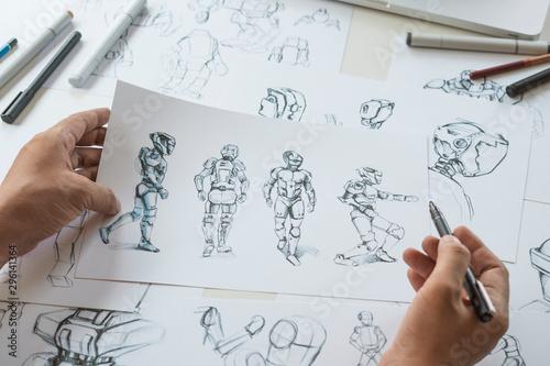 Pinturas sobre lienzo  Animator designer Development designing drawing sketching development creating graphic pose characters sci-fi robot Cartoon illustration animation video game film production , animation design studio