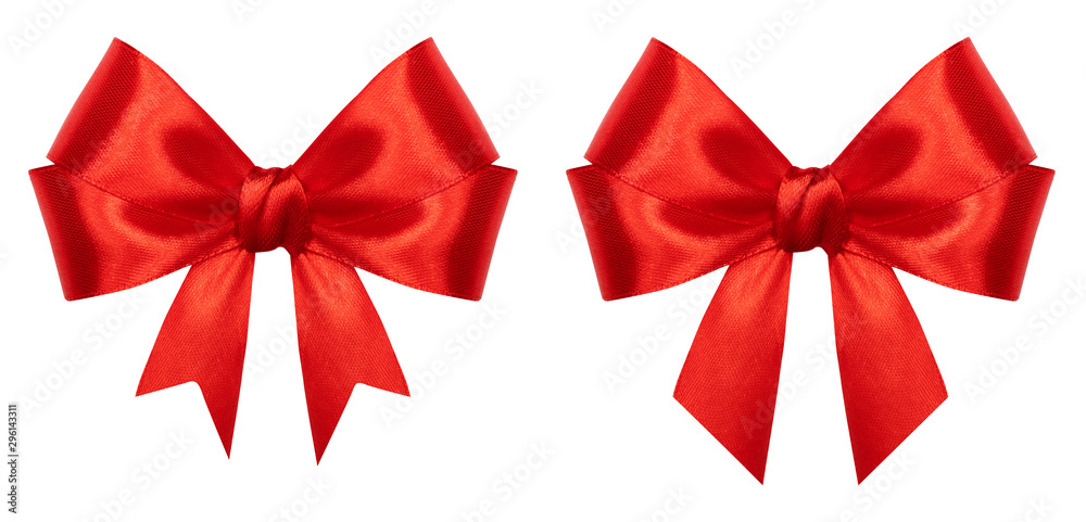 Fototapeta Red gift bow isolated on white background. Ribbon bow of shiny satin closeup. Holiday Christmas decoration as design element
