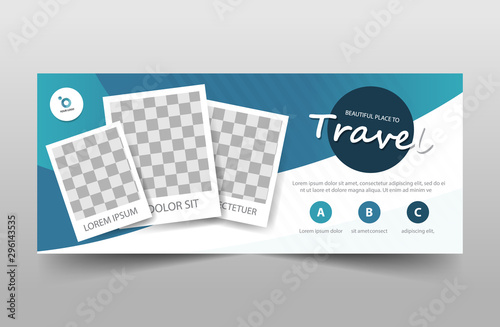 Travel tour corporate business banner template, horizontal advertising business Fototapet