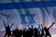 People And Flag On Day Of Israel