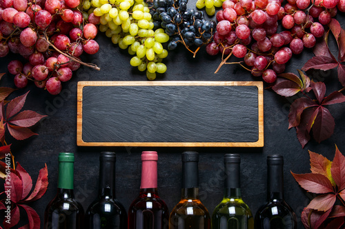 Poster Alcohol Wine sale concept template, flat lay composition