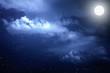 Leinwandbild Motiv Starry night sky with stars and moon in cloudscape background