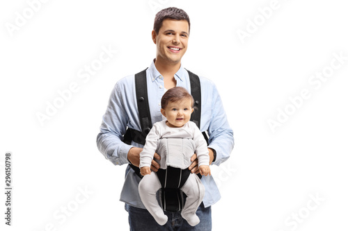 Father with a baby in a carrier Wallpaper Mural