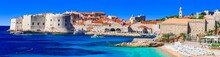 Gorgeous Medieval Dubrovnik Town - Pearl Of Adriatic Coast In Croatia. Panoramic View With Splendid Beach