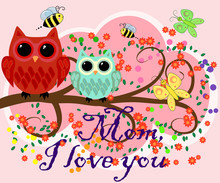 Mother's Day Owl. Cute Illustration Of Happy Mother And Kid Owl