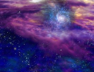Galaxy in purple blue space