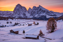 Beautiful Winter At Alpe Di Siusi, Seiser Alm - Italy - Holiday Background For Christmas.