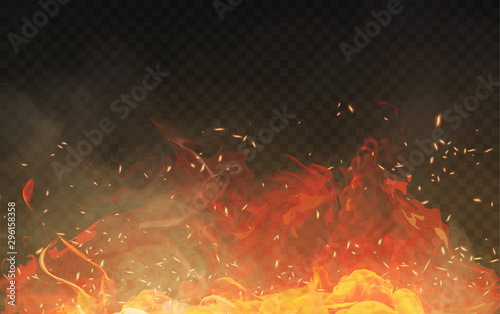 Vector realistic isolated fire effect with smoke for decoration and covering on the transparent background Canvas Print